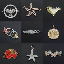 Fabulous Diy Seal CZ Charms Wholesale Eagle Necklace Pendant Elephant Butterfly Zircon Octopus Connector For Jewelry Making