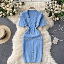 V Hals Taste Gestrickte Kleid Bodycon Sexy Sommer Mini Robe Schwarz Frauen Elegante Vestidos Cortos Vintage Koreanische Blau Frau Kleid za