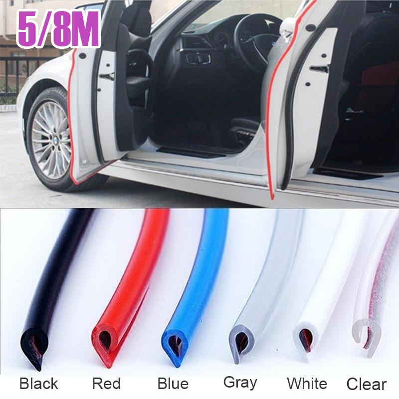 5/8M Meters Car Door Strips Rubber Edge Protective Strips Flexible Auto Vehicle Side Doors Moldings Adhesive Scratch Protectors