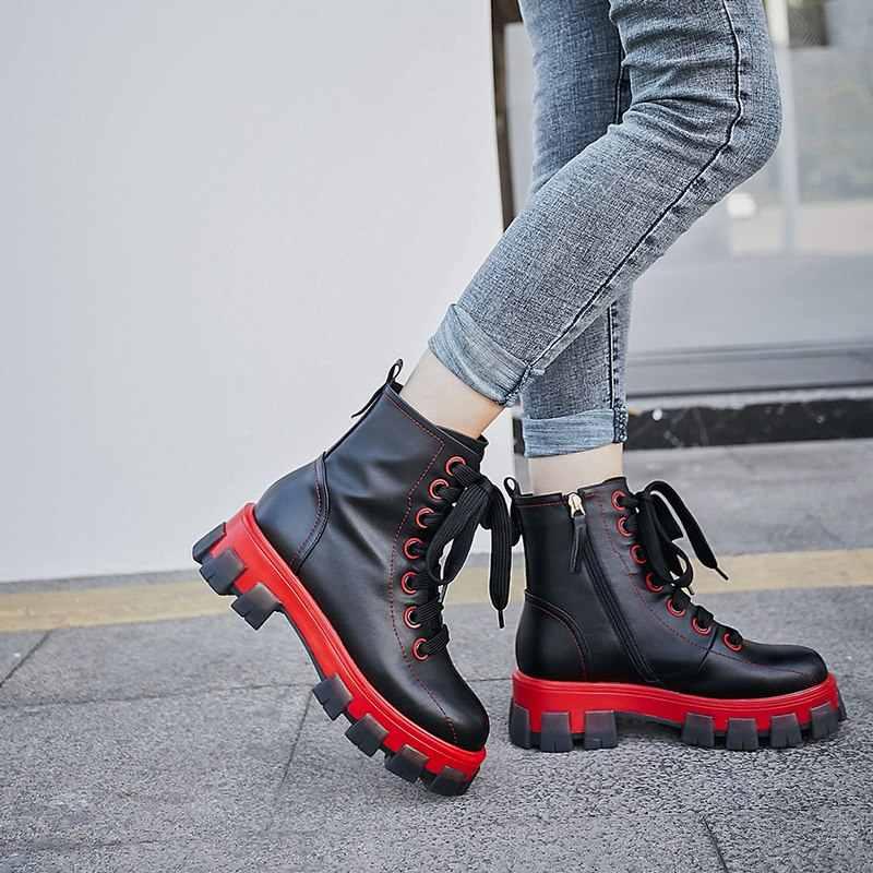 MORAZORA 2020 Yeni Inek hakiki deri çizmeler kadın dantel up yuvarlak ayak platformu çizmeler yuvarlak ayak sonbahar kış yarım çizmeler kadın