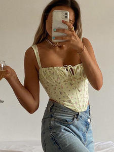 Cryptographic Bustier Crop-Tops Ruched-Tie Backless Floral-Print Cottagecore Women Sexy