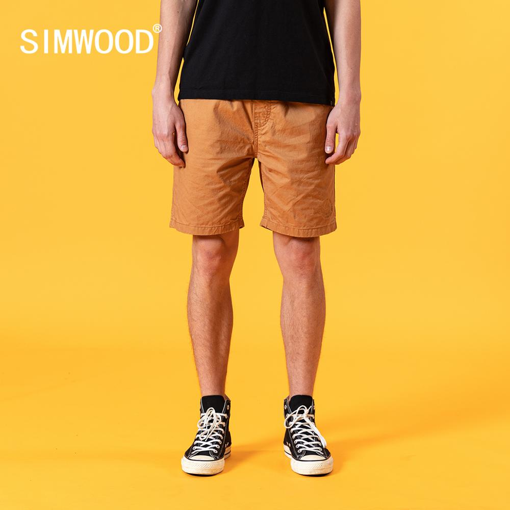 SIMWOOD 2020 Summer New Shorts Men Letter Embroidery Enzyme Wash Vintage Drawstring Plus Size 100% Cotton Shorts SJ130467