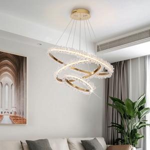 Image 2 - Modern crystal chandelier lighting for living room gold ring combination led chandeliers home decoration lustre cristal lamps