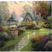 Diamond Painting DIY Round 5D Cross Stitch Hut And Well Leisure Kits Art