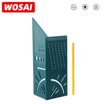 WOSAI Ruler Multifunctional Angle Ruler Wood Working 3D Mitre Angle Measuring Gauge Square Size Marking Carpenter Gauge and Pen 3d mitre angle measuring ruler scribe mark line gauge carpenter ruler square layout miter 45 and 90 degrees woodworking scribe