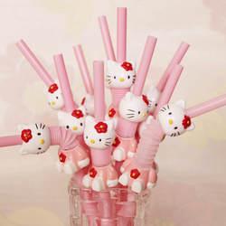 Супер милый hello kitty выдвижной изогнутый мультфильм соломинка розовый KT напиток соломинка для коктейлей оптовая продажа