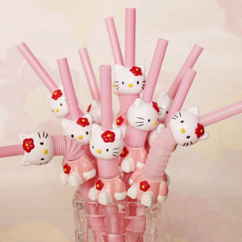 Super Cute Hello Kitty Retractable Curved Cartoon Straw Pink KT Drink Beverage Straw Wholesale
