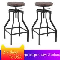 iKayaa Height Adjustable Swivel Bar Stool Industrial Style Natural Pinewood Top + Metal Kitchen Dining Chair