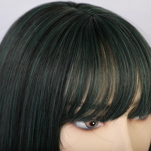 Image 5 - ALAN EATON Women Medium Straight Synthetic Wigs High Temperature Hair with Fringe/bangs Mix Green Black Bobo Lolita Cosplay Wig