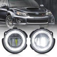 White LED Daytime Running Fog Light for 08 10 Subaru Impreza WRX STI 09 13 Forester Halo Ring DRL Driving Lamps
