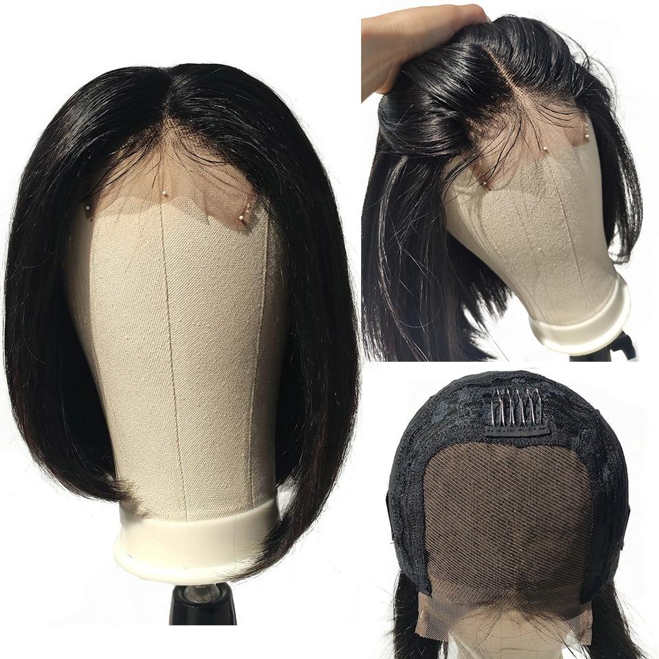 EMOL 4*4 Lace Closure Short Bob Human Hair Wig Lace Closure Wig 150% Density Brazilian Straight Remy Human Hair Wig Closure Wig