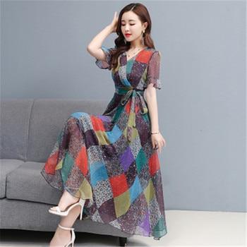Moda vestido de seda floral 2020 novedad de verano temperamento en forma de A cuello pico cintura Columpio de playa vestido Vestidos Mujer