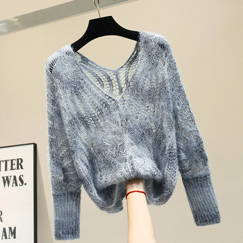 2020 Spring Autumn Women's Cutout Mohair Sweater Long Sleeve Loose Pullover Knitted Sweater Shirt Women Tops Hollow Out Jumper spring summer loose women pullover sweater hollow out sexy lace knitted plaid top long sleeve thin female pullover and sweater