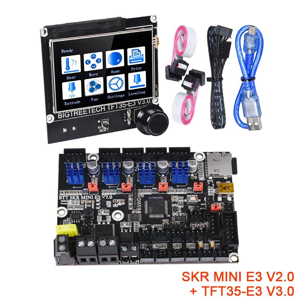Bigtreetech skr mini e3 v2.0 + TFT35-E3 v3.0 placa de controle kit tmc2209 uart peças da impressora 3d cr10 ender 3 atualização da tela toque