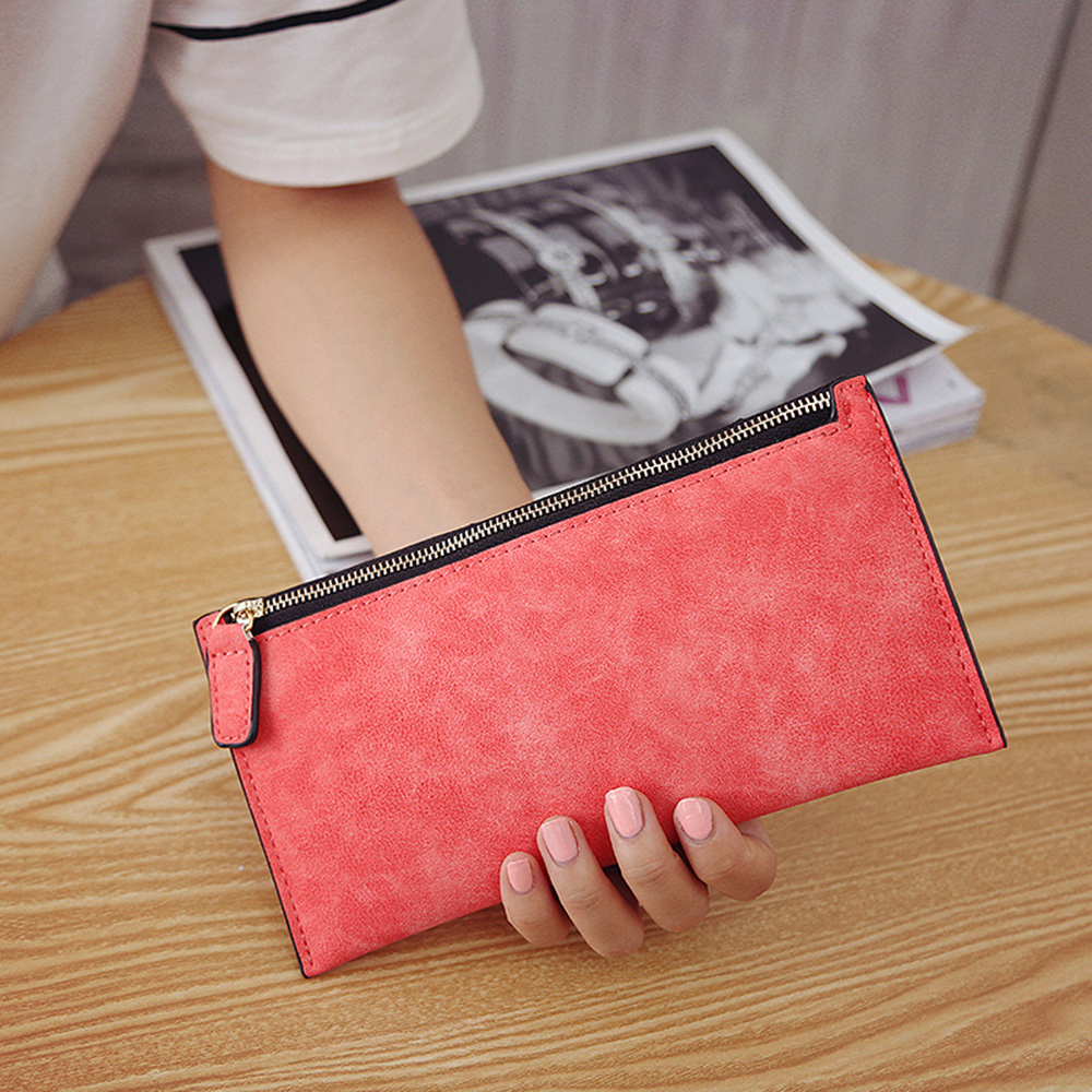 Womens Wallets And Purses Long PU Leather Women Girl Purse Wallet Mobile Thin Zip Handbag 2019 Luxury Solid Color Slim Wallet