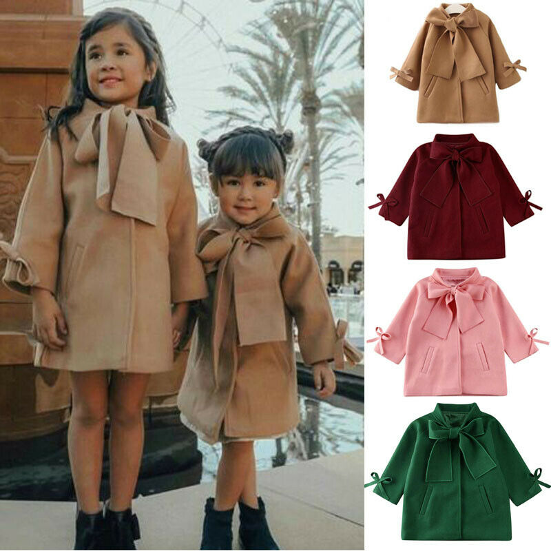 2020 Toddler Kids Baby Girls Winter Warm Wool Bowknot Trench Coat Overcoat Outwear Jacket Parka Brown Autumn Winter Top
