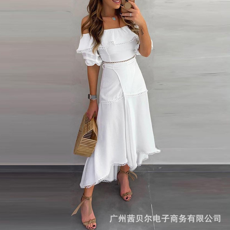 WEPBEL Long Dress Slash Neck Dress Short Sleeve Sexy High Waist Lace Fashion Solid Color New Summer Ruffles