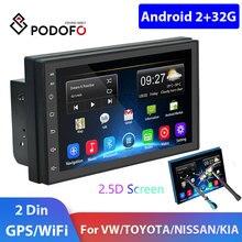 Podofo 2din car radio Android Car Multimedia Player GPS Navi 2 DIN autoradio For Volkswagen Nissan Hyundai Kia toyota Car Stereo