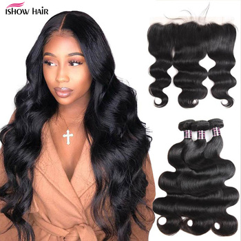 AliExpress - 5SALE:  Ishow Transparent Lace Frontal with Bundles Body Wave Bundles with Frontal Malaysian Human Hair 3 Bundles with Frontal Closure