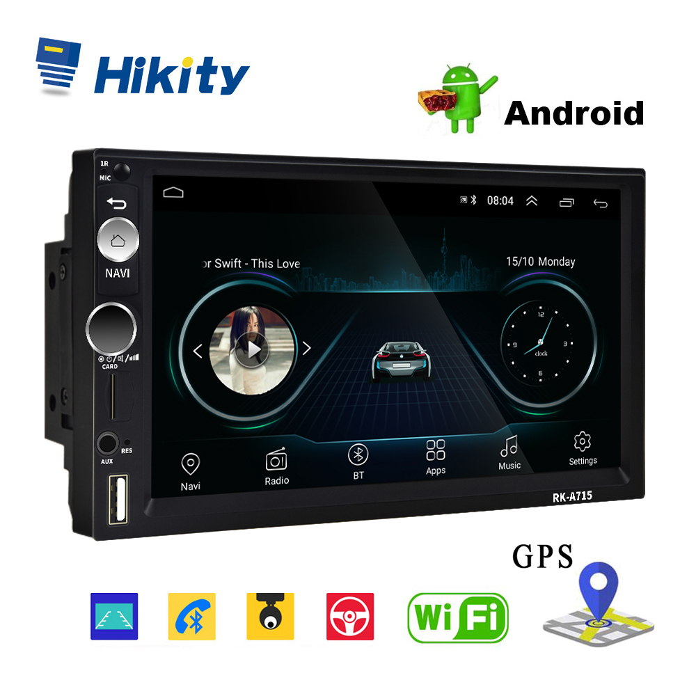 Hikity 2din Andriod 8.1 Car Multimedia Player GPS Navigation Bluetooth 7 MP5 Player Wifi USB Mirror Link Car Audio Radio Stereo image