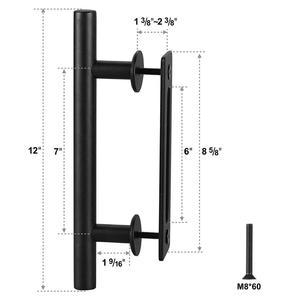 Image 2 - פחמן פלדה הזזה אסם דלת למשוך ידית עץ דלת ידית שחור ידיות דלתות הפנים ידית