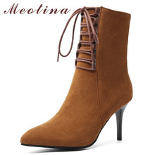 Meotina Winter Ankle Boots Women Zipper Stiletto Heel Short Pointed Toe Super High Shoes Lady Fall Plus Size 46