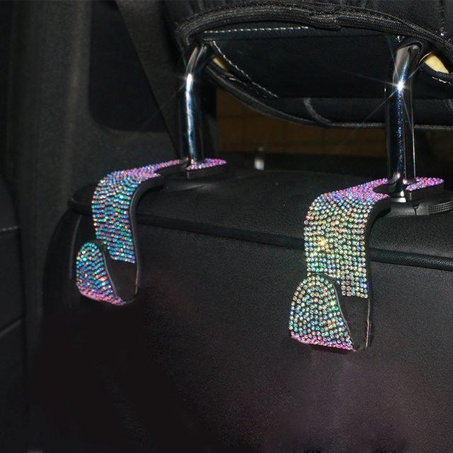 Creative Car Seat Back Hook Diamond Rhinestones Hanger Auto Headrest Objects Support Universal Mount Clips Bling Car Accessories 1