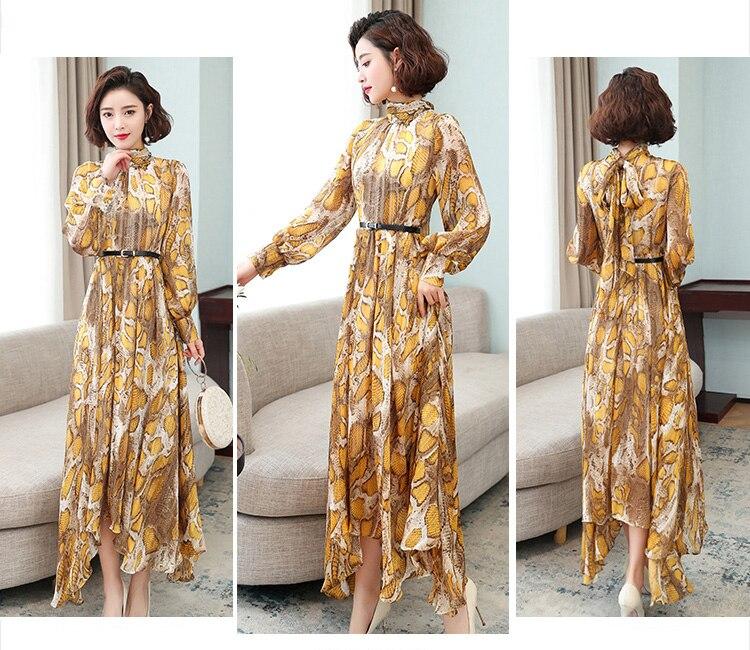Tingfly 2020 designer leopardo serpentina pring vestidos de festa vintage senhora elegante assimétrica hem midi vestido casual plus size 3xl - 2