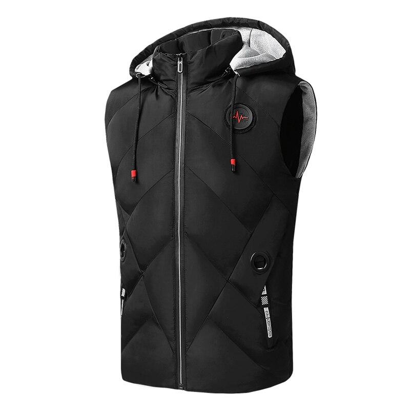 Winter Coat Vest Men Warm Sleeveless Jacket Hat Detachable Casual Waistcoat Cotton Vest Hooded Coat 4XL Size Mens Down Vest