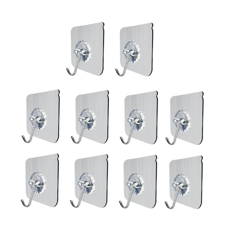 10Pc Wall Hooks Transparent Reusable No Nail Sticky Heavy Duty Adhesive Towel Wall Bath Utility Ceiling Hooks Hangers