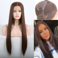 RONGDUOYI Long Middle Part Synthetic Full Lace Wig Straight Lace Wigs for Women Brown Japanese Heat Resistant Fiber Hair Wig