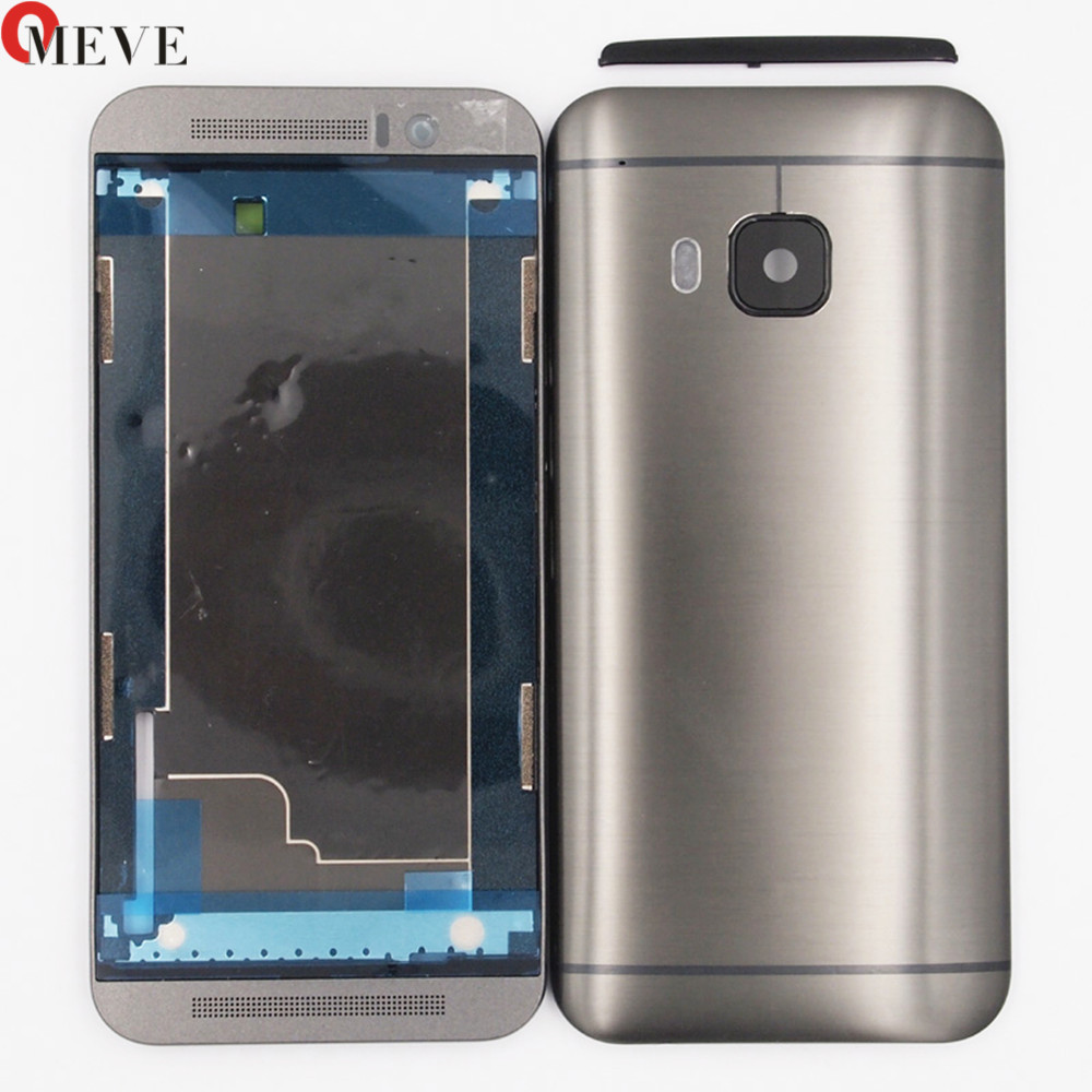 Original <font><b>Battery</b></font> Door Housing Back <font><b>Case</b></font> + Front Plate Frame panel For <font><b>HTC</b></font> <font><b>One</b></font> <font><b>M9</b></font> With Top Cover+Side buttons image