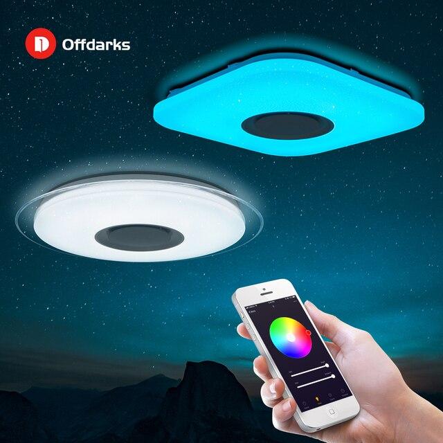 Offdarks Modern LED Ceiling Light Bluetooth Speaker with Remote Control APP Living Room Bedroom Kitchen Ceiling Lamp