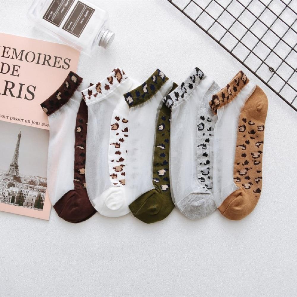 Summer Transparent Ultra-thin Glass Silk Boat Socks Sexy Leopard Print Women Short Socks