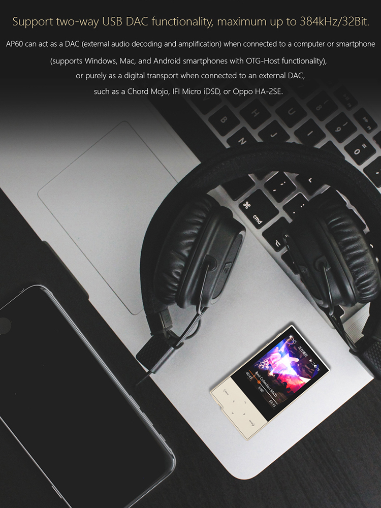 Closeout DealsHIDIZS AP60 Ⅱ Hi Res Music Bluetooth MP3 Player Portable Lossless Hi-Fi Digital Audio Player Support Aptx/FLAC/DSD/AAC DAP