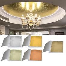 Papier artisanal Design artistique, 100 pièces, Imitation dorure, feuille dorée et argentée, 9x9cm