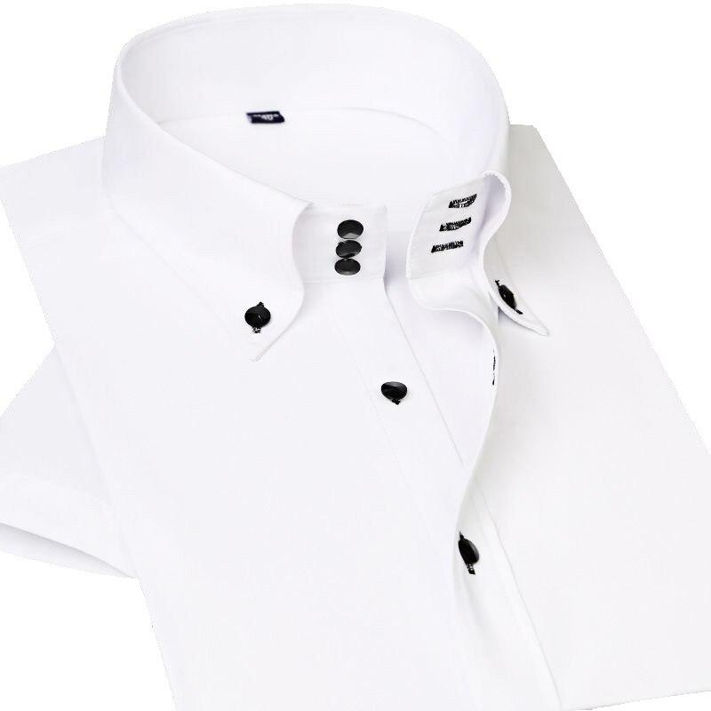 2020 Summer New Arrival Men Shirt White Short Sleeve Luxury Casual High Collar Shirts Slim Fit Stylish Business Social Shirt