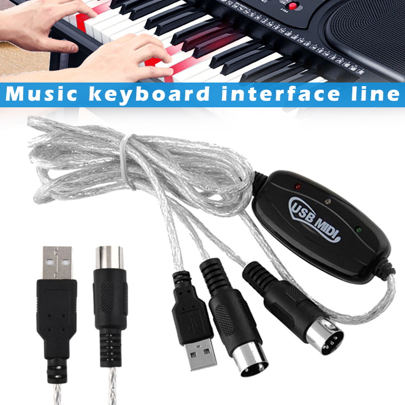 Hot USB IN-OUT MIDI Interface Cable Converter PC To Music Keyboard Adapter Cord MVI-ing