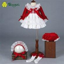 2020 niña Otoño Invierno primavera terciopelo rojo Vintage princesa española Lolita pompón bola Navidad cumpleaños fiesta vestido