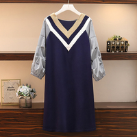 L 4XL Plus Size Women Casual A Line Dress Autumn 2019 Fashion V neck Striped Lantern Sleeve Patchwork Knitted Sweater Dresses