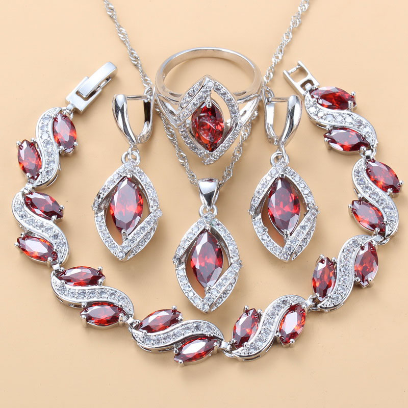Dubai Wedding Jewelry Sets AAA+ Quality Red Garnet Zircon Silver Color Bracelet And Ring Women Fashion Accessories Sets