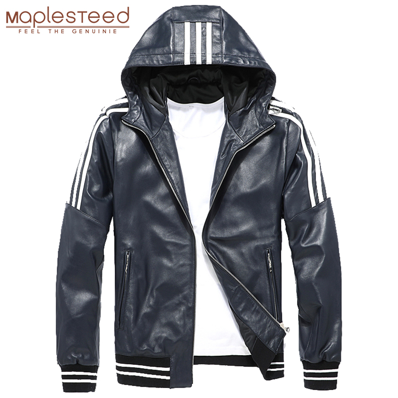 Men Leather Jacket Hood 100% Natural Sheepskin White Stripes Blue Black Real Leather Jackets Boy Skin Coat Hooded Autumn M183