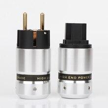 Preffair conector IEC P081 de alta gama, enchufe de alimentación Schuko chapado en oro, para Cable de alimentación de red DIY