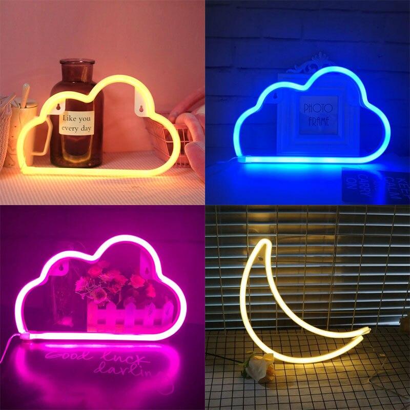 LED سحابة تصميم النيون تسجيل ليلة ضوء الفن أضواء الزخرفية البلاستيك الجدار مصباح للأطفال غرفة الطفل عطلة الإضاءة حفلة عيد الميلاد