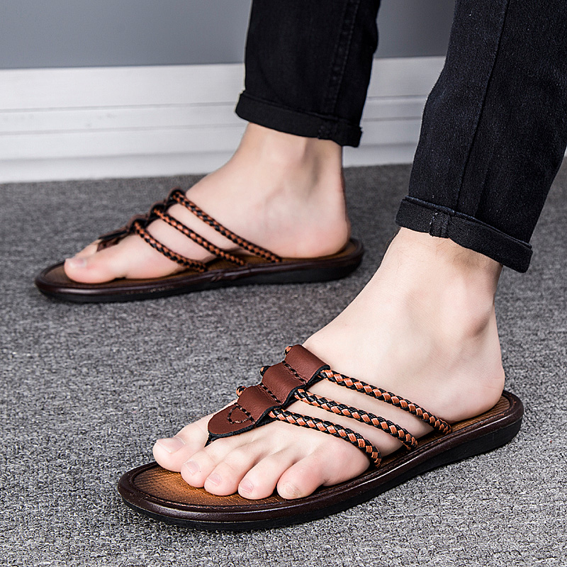 2020 Mens Flip Flops Sandals Genuine Leather Casual Men Shoes Slippers Summer Fashion Beach Flip Flops Platform Sandalias Mujer