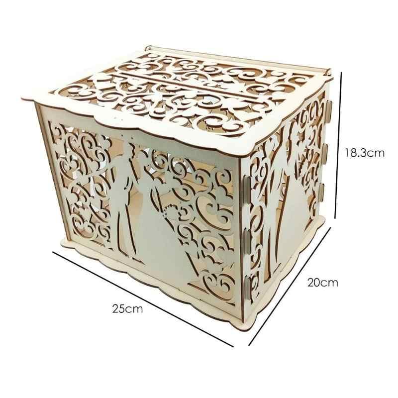 DIY ไม้ Hollowed งานแต่งงานการ์ดกล่องเก็บของขวัญคอนเทนเนอร์อุปกรณ์ไม้กล่องอุปกรณ์จัดงานแต่งงานธุรกิจกล่อง