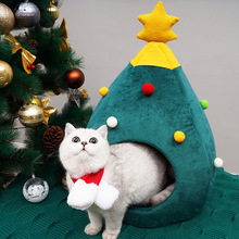 Christmas Tree Cave Cat Bed House Soft Nest Beds Warm Winter Dog Puppy Kennel Cute Pet For Small