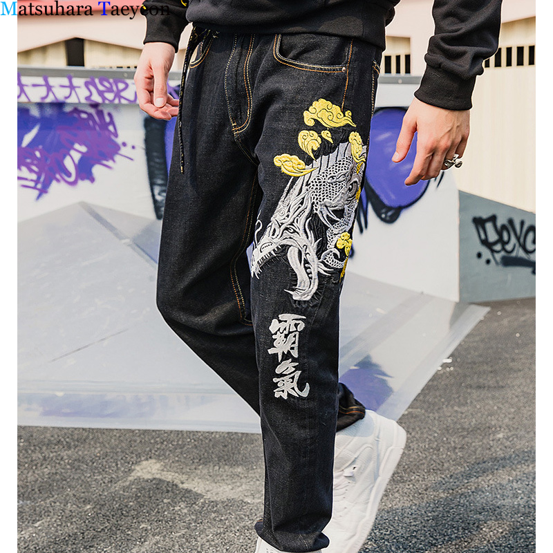 Chinese Style Embroidered Men Jeans Brand Fashion Designer Jeans Men's New Straight Fit Jeans Homme Clothes