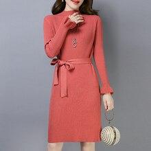 Корейский модный женский свитер платье элегантные женские вязаные пуловеры платье плюс размер зимние платья женское облегающее платье платья платья женские вязаное платье трикотажное платье вязаное платье