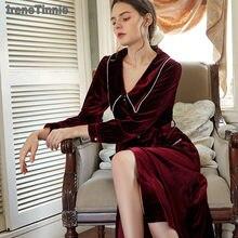 Irene Tinnie High Quality Sleepwear Long Sleeve Velvet Nightdress Women Winter Victorian Style Dress Warm Pajamas Wear Plus Size
